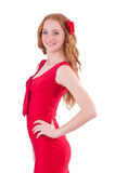 Pretty young girl in red dress isolated on white. The pretty young girl in red dress isolated on white Royalty Free Stock Photos