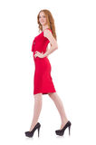 Pretty young girl in red dress isolated on white. The pretty young girl in red dress isolated on white Stock Images