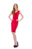 Pretty young girl in red dress isolated on white Royalty Free Stock Photography