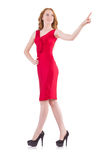 Pretty young girl in red dress isolated on white Stock Images