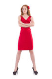 Pretty young girl in red dress isolated on white. The pretty young girl in red dress isolated on white Stock Photography