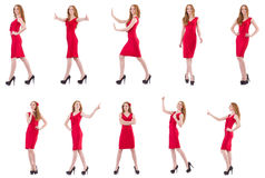 The pretty young girl in red dress isolated on white Royalty Free Stock Photo