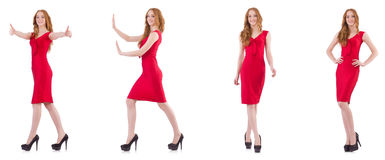 The pretty young girl in red dress isolated on white Stock Images