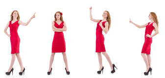 The pretty young girl in red dress isolated on white Royalty Free Stock Image