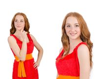 The pretty young girl in red dress isolated on white. Pretty young girl in red dress isolated on white Stock Photos