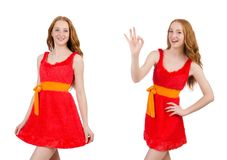 The pretty young girl in red dress isolated on white. Pretty young girl in red dress isolated on white Stock Images