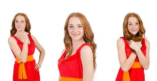 The pretty young girl in red dress isolated on white. Pretty young girl in red dress isolated on white Royalty Free Stock Images