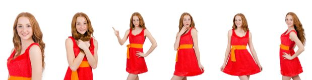 The pretty young girl in red dress isolated on white. Pretty young girl in red dress isolated on white Stock Photo