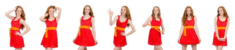 The pretty young girl in red dress isolated on white. Pretty young girl in red dress isolated on white Stock Photography