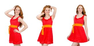 The pretty young girl in red dress isolated on white. Pretty young girl in red dress isolated on white Royalty Free Stock Photography