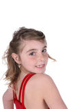 Pretty young girl in red leotard Royalty Free Stock Photos