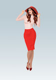Pretty young girl in a red skirt. Young girl in a red skirt and fashionable hat Royalty Free Stock Images