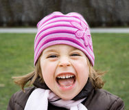 Pretty young girl shouting Stock Photo