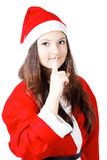 Pretty young girl in a silence Santa costume Stock Image