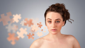 Pretty young girl with skin puzzle illustration Stock Photos