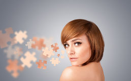 Pretty young girl with skin puzzle illustration Royalty Free Stock Image
