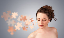 Pretty young girl with skin puzzle illustration Royalty Free Stock Images
