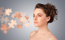 Pretty young girl with skin puzzle illustration Royalty Free Stock Photo