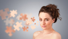 Pretty young girl with skin puzzle illustration Royalty Free Stock Photography
