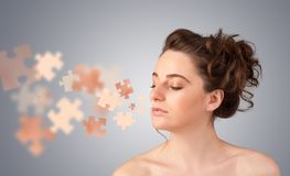 Pretty young girl with skin puzzle illustration Stock Photo