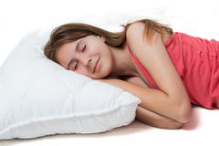 Pretty young girl sleeping Stock Images