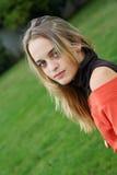 Pretty young girl in spring stock photos