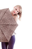 Pretty young girl standing holding umbrella Royalty Free Stock Photography
