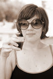 Pretty young girl in sunglasses, vintage look Royalty Free Stock Images