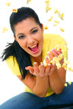 Pretty Young Girl Throwing Popcorn Stock Photo