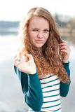 Pretty young girl in tiger mood Royalty Free Stock Photography