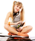 Pretty young girl  with vinyl records. Over whiterr Stock Images