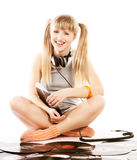 Pretty young girl  with vinyl records. Over whiterr Stock Image