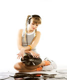 Pretty young girl  with vinyl records. Over whiterr Royalty Free Stock Photography
