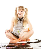 Pretty young girl  with vinyl records. Over whiterr Stock Photos