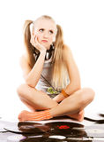 Pretty young girl  with vinyl records. Over whiterr Stock Photography