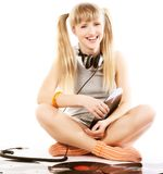 Pretty young girl  with vinyl records. Over whiterr Stock Photo