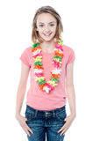 Pretty young girl wearing garland Royalty Free Stock Images