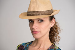 Pretty young girl wearing hat Royalty Free Stock Photos