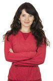 Pretty young girl wearing red top posing crossing Royalty Free Stock Photo