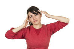 Pretty young girl wearing red top posing gesturing Stock Photos