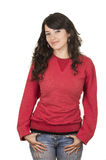 Pretty young girl wearing red top posing Royalty Free Stock Image
