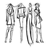 Pretty young girls. Fashion girls Sketch. Stylish fashion models. Pretty young girls. Fashion girls Sketch Stock Photography