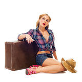Pretty young happy woman with travel bag and hat Royalty Free Stock Photos