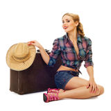 Pretty young happy woman with travel bag and hat Stock Images