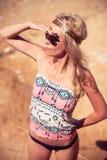 Pretty young hippie caucasian girl Stock Photo