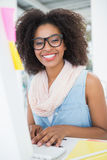 Pretty young hipster businesswoman smiling at camera Royalty Free Stock Images