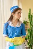 Pretty young housemaid. Royalty Free Stock Image