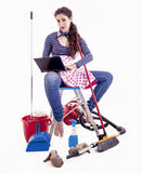 Pretty young housewife consult your laptop in a break Stock Photo