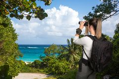Pretty Young Lady with Binoculars at the Coast Stock Photography