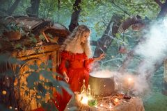 Pretty young lady with blond curly hair above big magic cauldron with smoke and bottles with liquids, forest nymph in